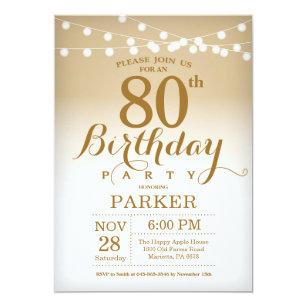 80th Birthday Invitation Gold String Lights