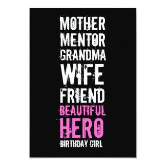 80th Birthday Invitation - Mom Beautiful Hero