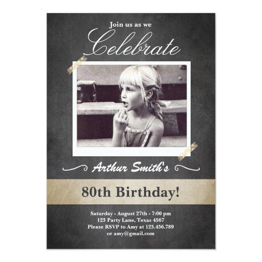 80th Birthday Invitation Vintage Eighty Birthday Zazzle Com