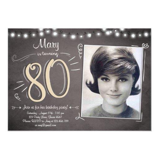 80th Birthday Invitation Vintage Eighty Birthday | Zazzle