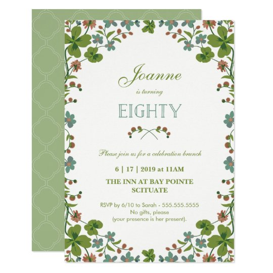 80th Birthday Invitation Vintage Floral Eightieth