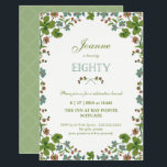 """80th Birthday Invitation, Vintage Floral (Small) Invitation<br><div class=""""desc"""">This 80th birthday party invitation features a vintage style border of green, pink and blue flowers. The word """"eighty"""" is written in a stylish font. The background color on the front and back can be customized to your liking. The text can also be customized for your special milestone birthday event....</div>"""