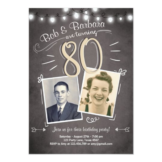 80th Birthday Invitation Vintage Twins Ct