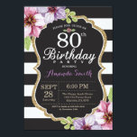 "80th Birthday Invitation Women. Floral Gold Black<br><div class=""desc"">80th Birthday Invitation for women. Black and Gold Birthday Party Invite. Gold Glitter. Purple Watercolor Floral Flower. Black and White Stripes. Chalkboard. Printable Digital. For further customization,  please click the ""Customize it"" button and use our design tool to modify this template.</div>"