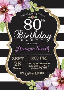 80th Birthday Invitation Women Floral Gold Black