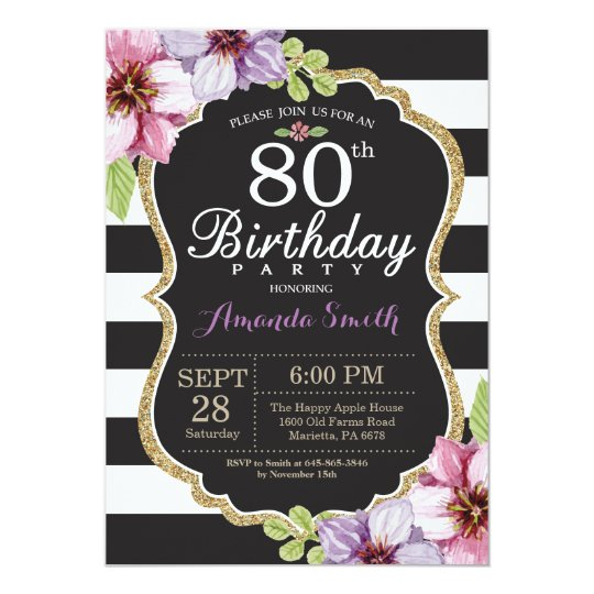 80th Birthday Invitation Women Floral Gold Black