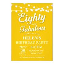 80th Birthday Invitation Yellow Fabulous
