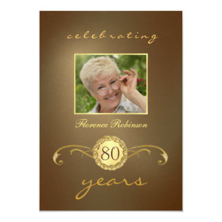 "80th Birthday Invitations - Antique Gold Monogram 5"" X 7"" Invitation Card"
