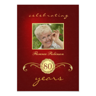"80th Birthday Invitations - Red & Gold Monogram 5"" X 7"" Invitation Card"