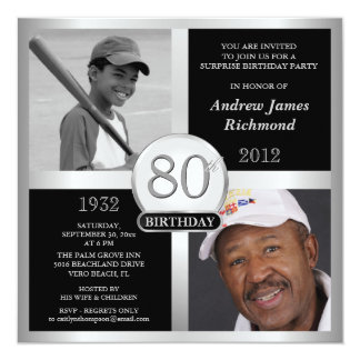 80th Birthday Invitations Then & Now 2 Photos