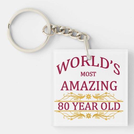80th. Birthday Acrylic Key Chains