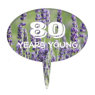 80th Birthday Lavender Floral Cake Topper