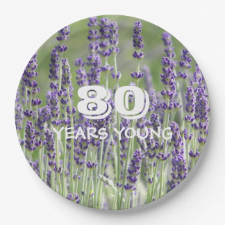 80th Birthday Lavender Floral Paper Plate