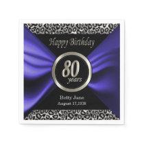 80th Birthday | Leopard - Blue Purple - Custom Napkin