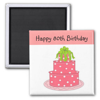 80th Birthday 2 Inch Square Magnet
