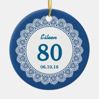 80th Birthday Memento Blue White Lace L34I Ceramic Ornament