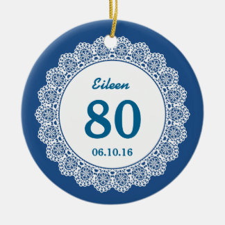 80th Birthday Memento Blue White Lace L34I Double-Sided Ceramic Round Christmas Ornament