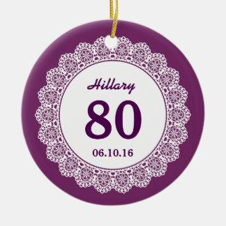 80th Birthday Memento Purple White Lace L34J Ceramic Ornament