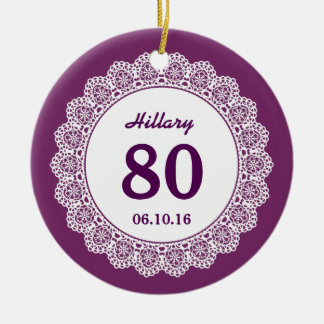 80th Birthday Memento Purple White Lace L34J Double-Sided Ceramic Round Christmas Ornament