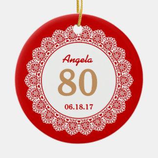 80th Birthday Memento White Lace L34JZ Ceramic Ornament