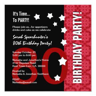 Funny 80th birthday invitations zazzle 80th birthday modern red and black funny d80a invitation filmwisefo
