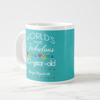 80th Birthday Most Fabulous Colorful Gem Turquoise 20 Oz Large Ceramic Coffee Mug
