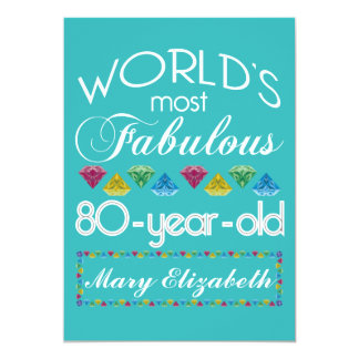 80th Birthday Most Fabulous Colorful Gem Turquoise 5x7 Paper Invitation Card
