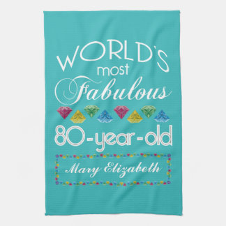 80th Birthday Most Fabulous Colorful Gem Turquoise Hand Towel