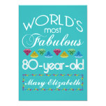 "80th Birthday Most Fabulous Colorful Gem Turquoise 5"" X 7"" Invitation Card"