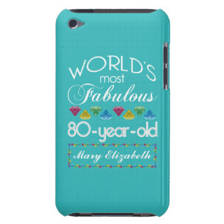 80th Birthday Most Fabulous Colorful Gem Turquoise iPod Touch Cover