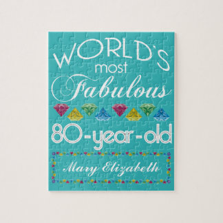 80th Birthday Most Fabulous Colorful Gem Turquoise Jigsaw Puzzle