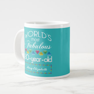 80th Birthday Most Fabulous Colorful Gem Turquoise Large Coffee Mug