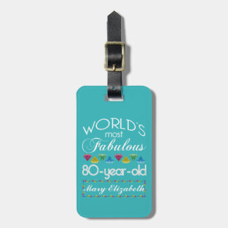 80th Birthday Most Fabulous Colorful Gem Turquoise Tags For Bags