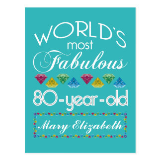 80th Birthday Most Fabulous Colorful Gem Turquoise Postcard