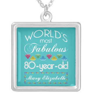 80th Birthday Most Fabulous Colorful Gem Turquoise Silver Plated Necklace