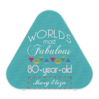 80th Birthday Most Fabulous Colorful Gem Turquoise Speaker