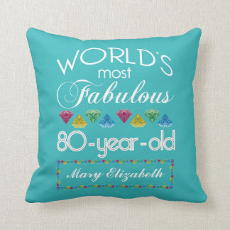 80th Birthday Most Fabulous Colorful Gem Turquoise Throw Pillow