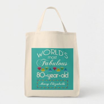 birthday 80th Birthday Most Fabulous Colorful Gem Turquoise Tote Bag