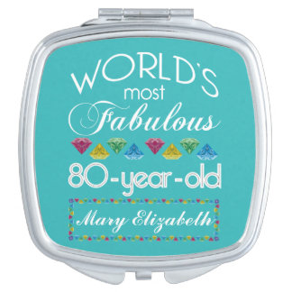 80th Birthday Most Fabulous Colorful Gem Turquoise Vanity Mirror