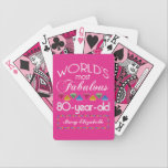 "80th Birthday Most Fabulous Colorful Gems Pink Bicycle Playing Cards<br><div class=""desc"">Celebrate the milestone birthday of your favorite senior citizen with this fun gift reminding them of how fabulous they are. White and grey lettering on deep pink background. Colorful diamond-cut gems in rainbow tones serve as accent. Customize with names, initials or other text. This series is in increments of 5...</div>"