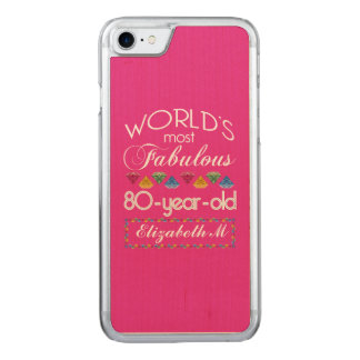 80th Birthday Most Fabulous Colorful Gems Pink Carved iPhone 8/7 Case