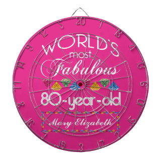 80th Birthday Most Fabulous Colorful Gems Pink Dartboard