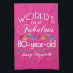 """80th Birthday Most Fabulous Colorful Gems Pink Hand Towel<br><div class=""""desc"""">Celebrate the milestone birthday of your favorite senior citizen with this fun gift reminding them of how fabulous they are. White and grey lettering on deep pink background. Colorful diamond-cut gems in rainbow tones serve as accent. Customize with names, initials or other text. This series is in increments of 5...</div>"""