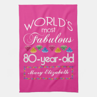 80th Birthday Most Fabulous Colorful Gems Pink Hand Towel