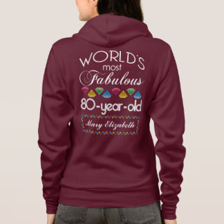 80th Birthday Most Fabulous Colorful Gems Pink Hoodie
