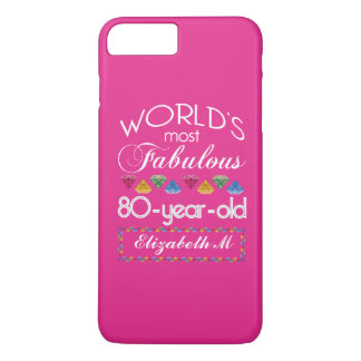 80th Birthday Most Fabulous Colorful Gems Pink iPhone 8 Plus/7 Plus Case