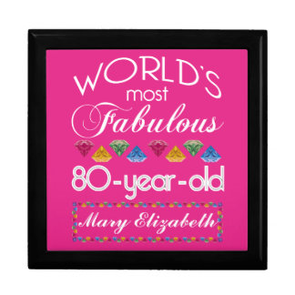 80th Birthday Most Fabulous Colorful Gems Pink Jewelry Box