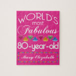 80th Birthday Most Fabulous Colorful Gems Pink Jigsaw Puzzle