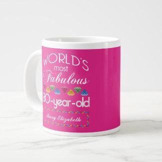 80th Birthday Most Fabulous Colorful Gems Pink Large Coffee Mug