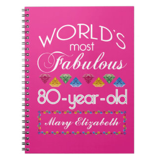 80th Birthday Most Fabulous Colorful Gems Pink Notebook